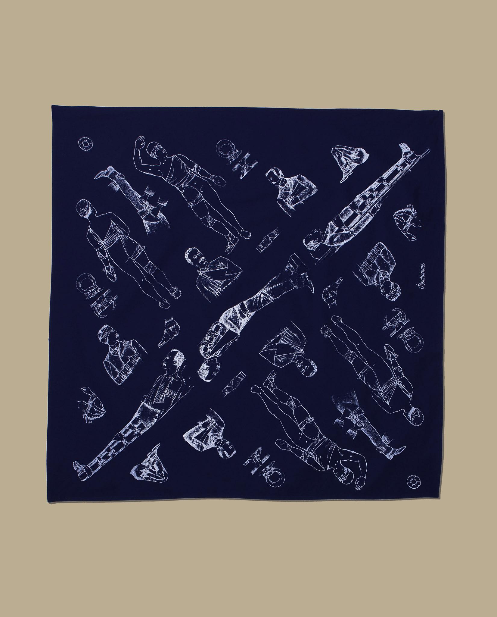 Bonhomme - bandana bleu plat